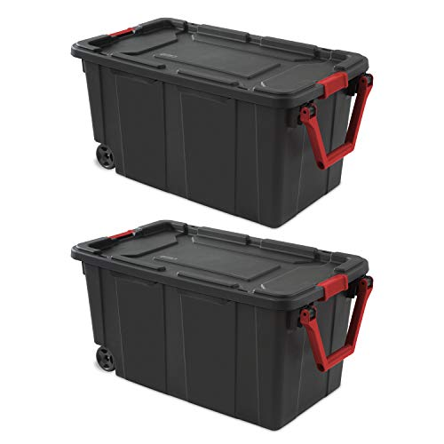 (Set of 2 Rolling Storage Bins with Handles, Portable Containers with Latching Lid, Heavy Duty Durable Organizers for Garage, Workshop, Laundry Easy Mobility 40 Gallon Boxes)