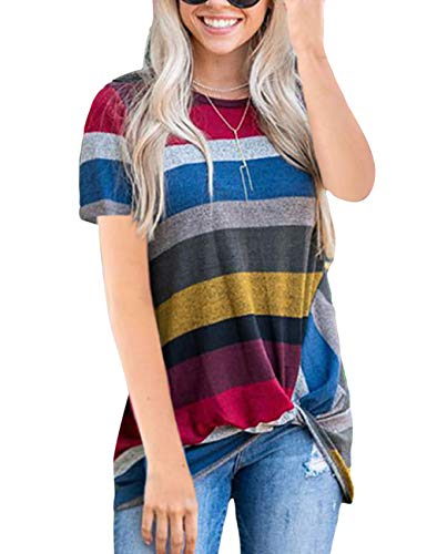 Casual Plaid Women T-shirt - HUHHRRY Women's Short Sleeve Casual Striped T Shirts Front Knot Twist Blouse