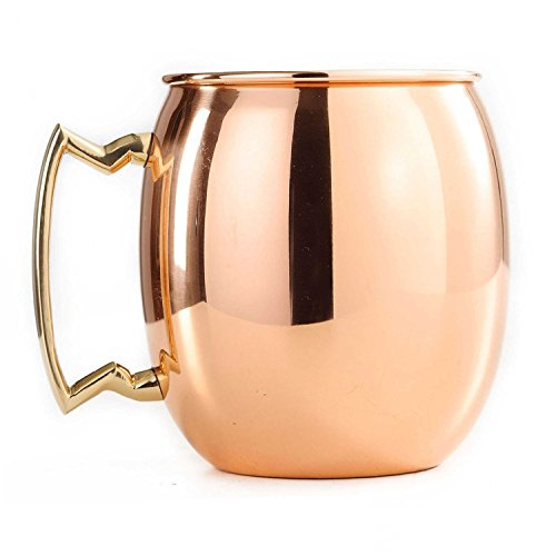 (Moscow Mule Copper Mug 16 OZ by James Scott Copper Mug with Brass Handle - Color Box)