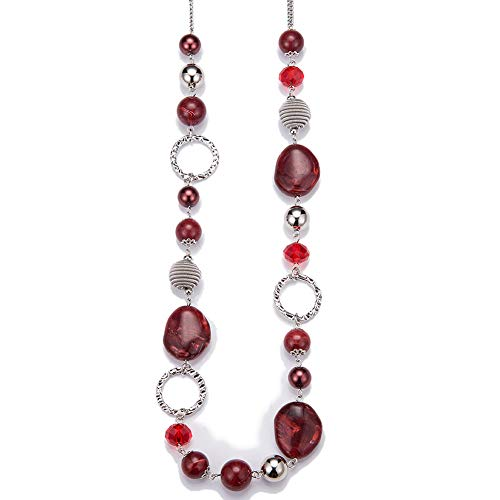 Long Beaded Necklaces For Women - Sweater Chain Fashion Jewelry Necklace Gifts For Women (Red) (Is What Resin Made From)