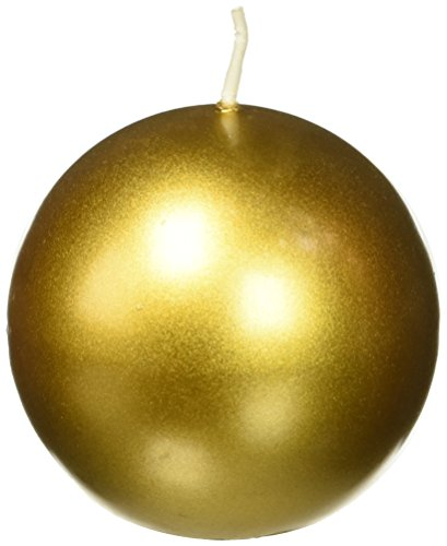 Zest Candle 6-Piece Ball Candles, 3-Inch, Metallic Gold ()