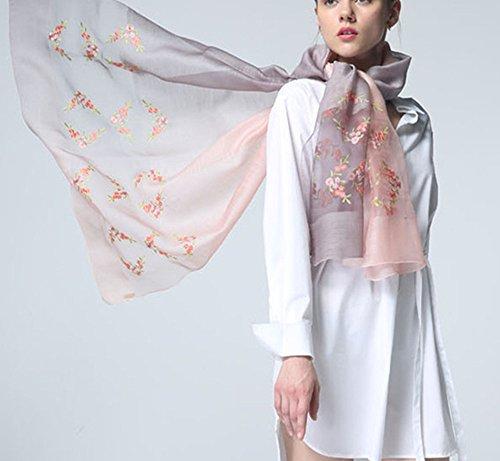 de Bufanda Degradado Color bufanda Colorido Todo algod Bordado Mujer Uv Seda Anti 5 Lana SB71wpqx