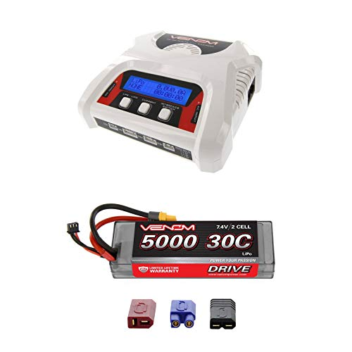 (Venom Sport Power 30C 2S 5000mAh 7.4 LiPo Battery Roar Approved with UNI Plug and Venom 2-4 Cell AC/DC LiPo Battery Balance Charger Money Saving Combo)