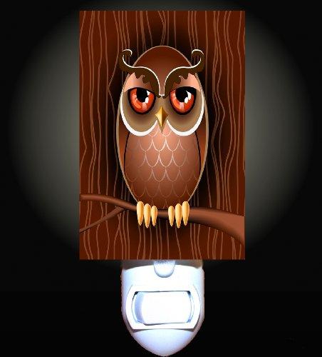 Retro Owl in the Woods Decorative Night Light