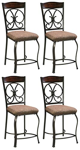 Signature Design By Ashley Glambrey Upholstered Barstool Set Of 4 Traditional Style Brown