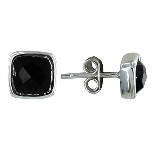 Les Poulettes Jewels - Sterling Silver Earrings Stud Square with Faceted Black Onyx