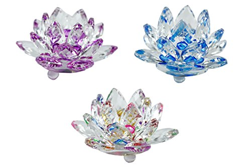 Mstechcorp 3 inch Lotus Flower Sapphire Sparkle Crystal - Multicolor