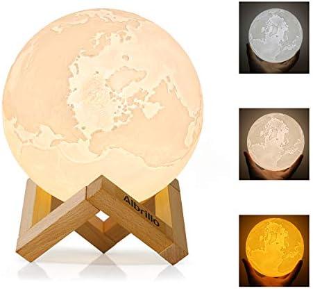 Albrillo 3D Erde Lampe 15cm mit Touch Sensor, 3 Farbe Auswählbar und dimmbar Nachtlicht, USB Wiederaufladbar als Deko und Geschenke, 12.5um Oberflächengenauigkeit