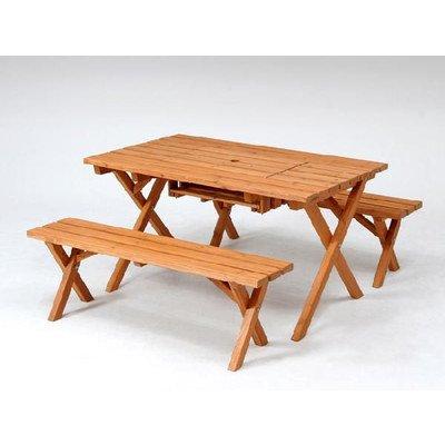 ガーデンテーブルセット バーベキュー木製テーブル&ベンチ3点セット(コンロスペース付) 杉材使用 B00SUTA7HO