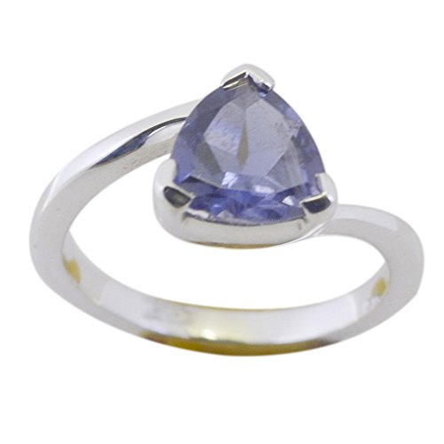 Gemsonclick Real Iolite Amazing Ring In Silver Trillion Shape Bezel Style Partywear For Women Size (Trillion Cut Iolite Ring)