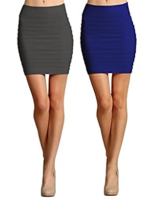 Simlu 2 Pack High Waisted Pencil Mini Skirt for Women - Grey ...