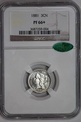 1881 Three Cent Nickel PF66+ NGC CAC Approved