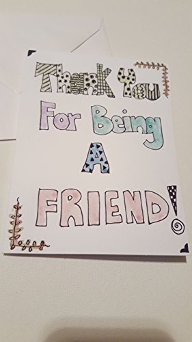 Thank You for Being A Friend Blank Greeting Card for Friendship, Watercolor Handpainted Friend Card, Gift for A Friend Card.