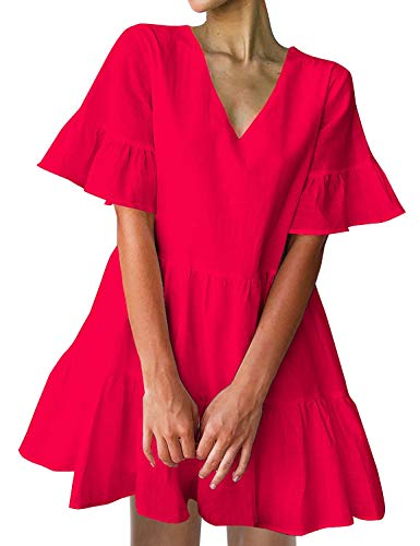 FANCYINN Women's Cute Shift Dress with Pockets Fully Lined Bell Sleeve Ruffle Hem V Neck Loose Swing Tunic Mini Dress Red M