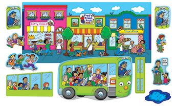Little Folk Visuals Wheels on the Bus Precut Flannel/Felt Board Figures, 11 Pieces Set