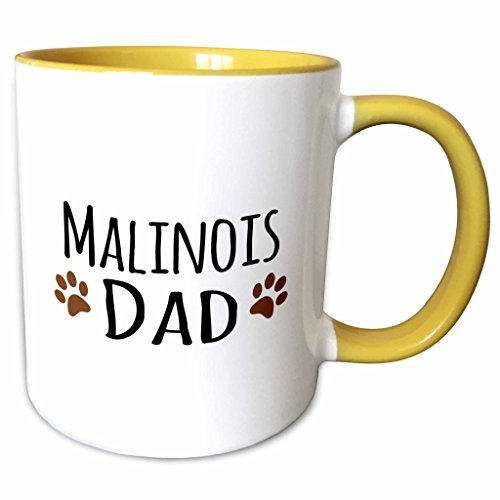 3dRose InspirationzStore Pet designs - Malinois Dad - Belgian Malinois dog breed - muddy brown doggie paw prints - doggy lover - pet owner - 11oz Two-Tone Yellow Mug (mug_153945_8) (Malinois Belgian Mug)