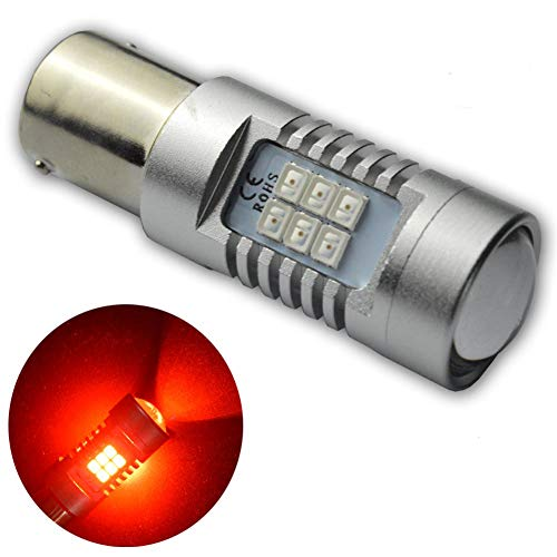 Ruiandsion 2x BAU15S 2835 21 SMD LED with Projector Super Bright Car Signal Tail Stop Brake Light Bulb AC 12V 24V (Red) ()