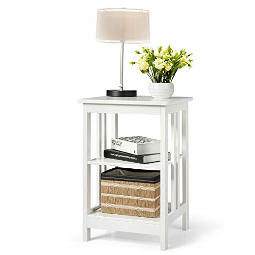 Giantex 3-Tier Side Table End Table, Concise Nightstand Sofa Side Table with Baffles and Round Corners, Multipurpose Furniture with Solid Density Board for Living Room Bedroom Study Room (1, White) (3 Tier Side Table)