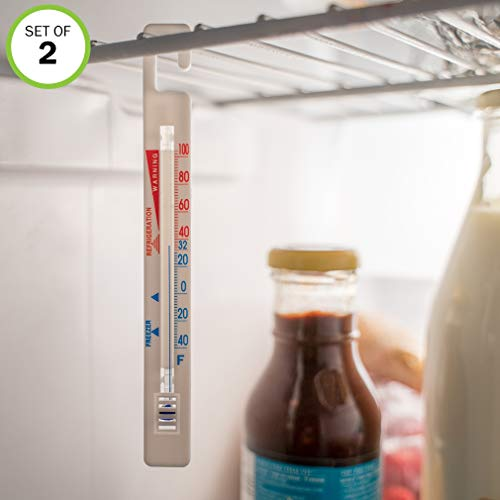 Evelots Hanging Refrigerator Freezer Room Thermometers, Save on Food, Set of 2