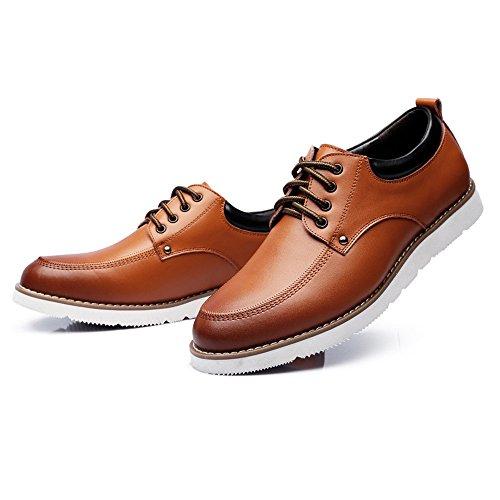 Jiuyue-shoes, 2018 Mocassini stringate da uomo scarpe PU Leather Casual Business Soft Sole Flats Oxfords for Gentlemen Scarpe Uomo Pelle (Color : Nero, Dimensione : 45 EU) Marrone