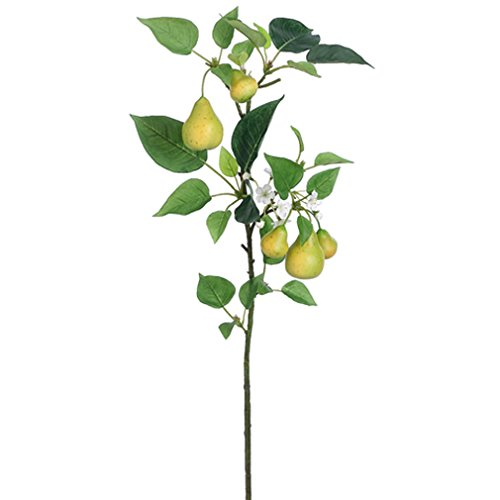 34.5'' Artificial Pear Branch Spray -Green/White (pack of 12) by SilksAreForever