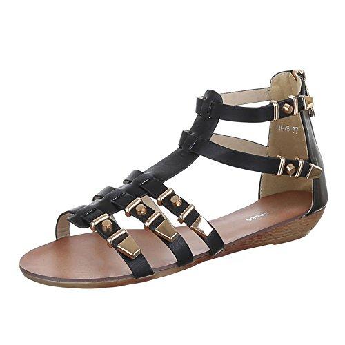 Sandalettes Design Noir Ital Sandales femme SZEwOqBw