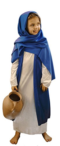 (Nativity-World Book Day White & Blue Bible Villager/Mary Fancy Dress Costume - All Ages (Age 9-10))