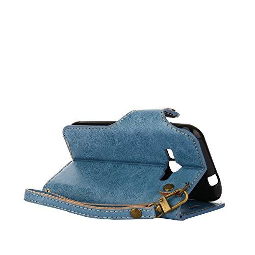 MEIRISHUN Leather Wallet Case Cover Carcasa Funda con Ranura de Tarjeta Cierre Magnético y función de soporte para Samsung Galaxy J1 (2016) - naranja Azul