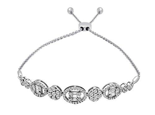 - OMEGA JEWELLERY 14K White Gold Round & Baguette Diamond Cluster Bolo Bracelet for Women (1.28 Ct)