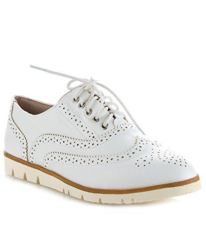 RF ROOM OF FASHION Women's Wing Tip Saddle Lace Up Platform Oxford Flats - Trendy Flatform Shoes White (8) (Saddle Platform Up Lace Shoe)