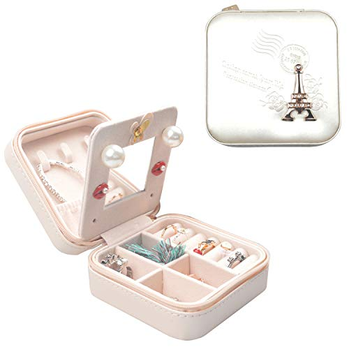 Fangoo Travel Jewelry Box, Small Jewelry Organizer Display Storage Mini Case for Rings Earrings Necklace Lipsticks with Mirror for Women and Girls (White)