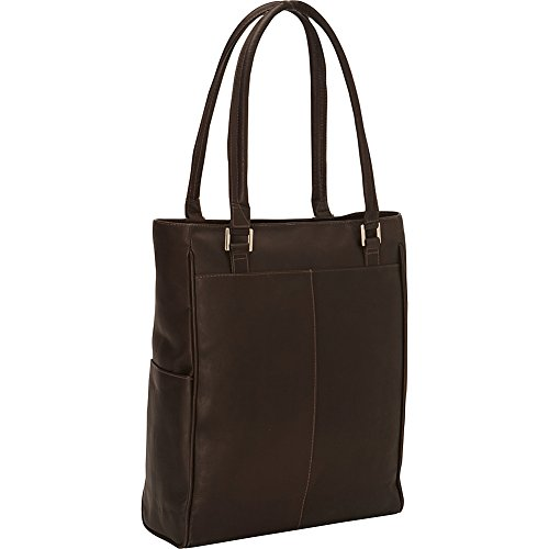 Piel Leather Vertical Laptop Tote, Chocolate, One Size -