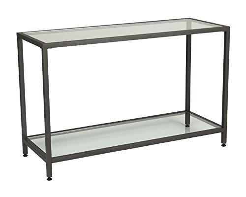 Offex Camber Collection Rectangle Clear Glass Console Table - Pewter -