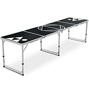 Yaheetech Beer Pong Table 8' Portable Folding Outdoor Indoor Picnic/Camping Table College Party Gaming Beer Pong Tables Lightweight & Easy Wipe Surface Black
