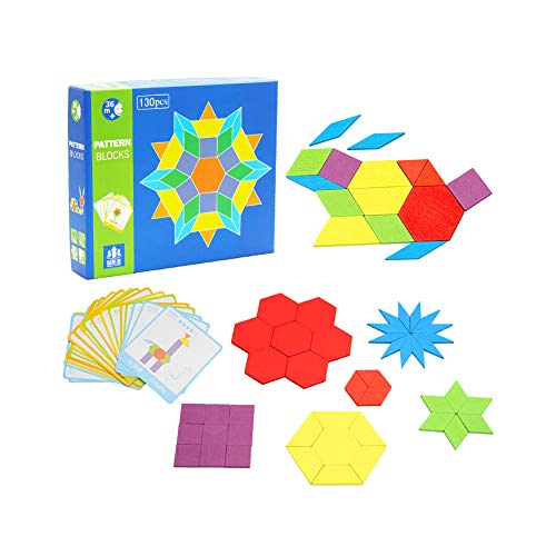 KanCai Wooden Pattern Blocks and Boards Classic Educational Toy with 130 Geometric Shape Pieces and 24 Designs