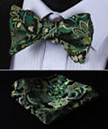 [Mondaily DL801G Green DLack Paisley Men Silk Classic Self Bow Tie Pocket Square set #PPTE4547] (Cats Musical Halloween Costumes)