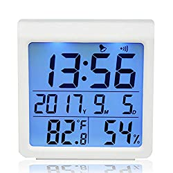 Dewsshine 6 in 1 Multi-Function Digital Hygrometer Indoor Thermometer Humidity Monitor Temperature Gauge with Time and Date Display Alarm Clock Blue-Backlight (White)