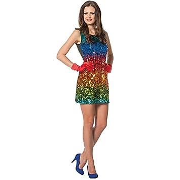 NEU Damen-Kostüm Paillettenkleid Rainbow, Gr. S-M: Amazon.de: Spielzeug