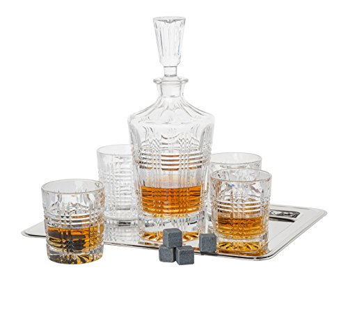 Floyd Old Fashioned - Fitz And Floyd 5-piece Bridgeport Crystal Whiskey Barware Set With Decanter And Double Old Fashioned Glasses, Includes 12 Granite Whiskey Stone Cubes And Rectangular Nickel-plated Tray