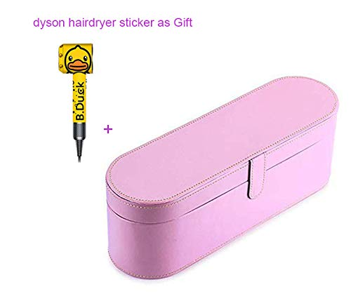 Dyson Supersonic Hair Dryer Case, Portable Magnetic Flip PU Leather Moistureproof Anti-scratch Dustproof Organizer Travel Gift Case for Dyson Supersonic Hair Dryer (PINK) -