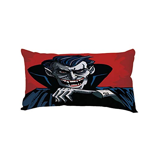iPrint Polyester Car Neck Pillow,Vampire,Cartoon Cruel Old Man with Cape Sharp Teeth Evil Creepy Smile Halloween Theme,Blue Red Grey,13.7x7.8Inches,for Car Designed,Travel Car Seat & Home ()