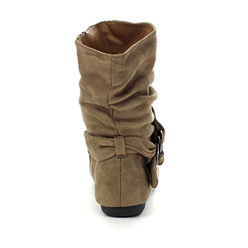Side Flat Boots Zipper Heel Slouch Ankle Women's Fashion Taupe Calf wqgCpRp