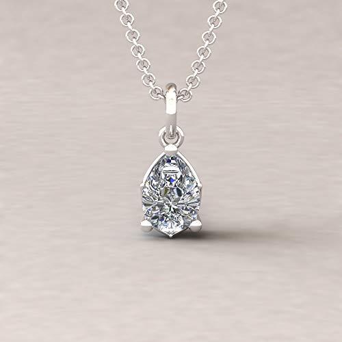 Diamond Pear Pendant - 7x5mm Solitaire