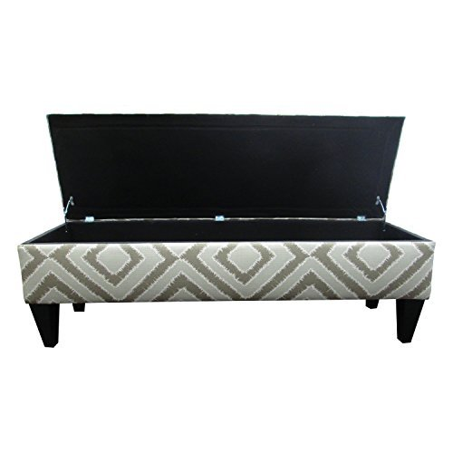 Arms Not Upholstered Benches (Sole Designs Nouvea Collection Upholstered Storage Bench with Built in Storage, 56