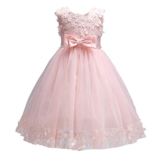 Acecharming Baby Girl Flower Lace Hemline Tutu Tulle Party Ball Gown Maxi Dress(2-10 Years Old)
