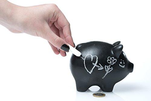 Blacky - Sparschwein zum Beschriften mit Kreide versch. Größen | Keramik Spardose - Handgearbeitet | | Sparbüchse