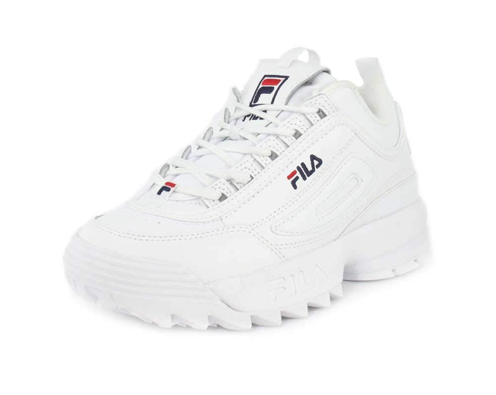 Fila Women's Disruptor II Premium Sneakers, WhiteFila NavyFila Red, 5.5 M US