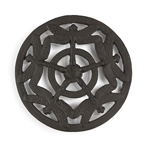gasare, Cast Iron Trivet for Hot Dishes, Dragonfly Gifts, for Teapot, Dining Table, Stove, Rubber Caps, 7
