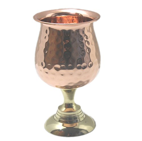 STREET CRAFT Hand Hammered Pure Copper Wine Goblet , Small Communion Wine Goblet - Chalice , Capacity-8 Ounce, Copper Wine Glass , Goblet Cups.]()
