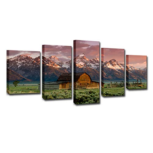 Rocky Mountain Cabin Decor - FOLOIN HD Printed Poster Modern Wall Art Canvas Pictures Frame Home Decor 5 Pieces Barn Rocky Mountains Cabin Landscape Painting